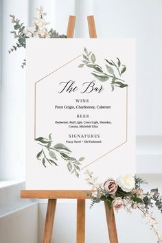 Green bar menu, bar sign, printable beverage menu, bar menu template, immediately . - hochzeit - The Best Wedding You Deserve Wedding Table Centerpieces, Wedding Decorations, Centerpiece Flowers, Wedding Themes, Wedding Designs, Centerpiece Ideas, Dream Wedding, Wedding Day, Wedding Order Of Events