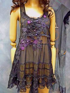 Floral Hand beaded sheer top dress sz small medium by Royalnatty