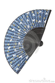 Blue silk fan