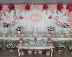 La imagen puede contener: interior y comida Butterfly Birthday Party, Butterfly Baby Shower, Girl Birthday, Birthday Ideas, Butterfly Party Decorations, Birthday Decorations, Table Decorations, 1st Birthdays, Party Themes