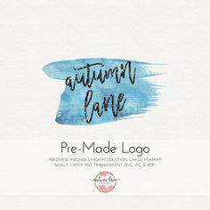 Pre-made Logo Design Watercolor Logo by AutumnLanePaperie