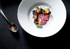 """Gorgeous Michelin star restaurant """"Kokkeriet"""" in Copenhagen with Sammy Shafi at the steering wheel.  Serving game in ashes"""