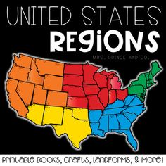 This pack is over 100 pages of U.S. region fun! The 5 regions included are the Northeast, Southeast, Midwest, Southwest, and West. For each region, I've included an interactive book filled with lots of information, a word search, craft, different writing activities to go along with the craft, and a colorful map of the region.