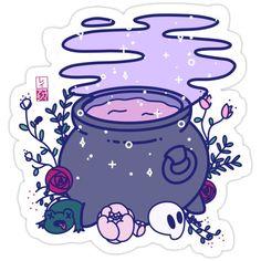 """""""Kawaii Cauldron"""" Framed Art Print by ShopAshii Stickers Cool, Stickers Kawaii, Tumblr Stickers, Anime Stickers, Printable Stickers, Arte Do Kawaii, Kawaii Art, Sticker Shop, Sticker Design"""