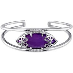 Julianna B 1/3 Ct Diamond Tw And Purple Chalcedony Bangle ($860) ❤ liked on Polyvore featuring jewelry, bracelets, silver, diamond bangle bracelet, hinged bangle, diamond bracelet bangle, bangle jewelry and purple jewellery