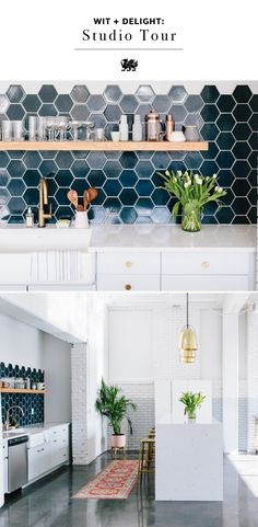 Blogger and designer Wit & Delight @KateA unveils her new studio space. Delve into every detail in her post, including stunning Cambria quartz countertops and kitchen island with a waterfall edge, navy hexagon tile kitchen backsplash, polished brass barstools, gold pendant lighting, antique kilim rug, and more. [Featured Design: Swanbridge] #MyCambria