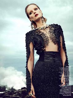 Dress for Daenerys, inspired by Drogon's black scales    Alexander Mcqueen