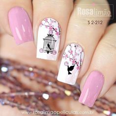 80 ideas to create the best Halloween nail decoration - My Nails Stylish Nails, Trendy Nails, Cute Nails, Pink Nails, My Nails, Bird Nail Art, Romantic Nails, Nagellack Design, Nail Art Designs Videos