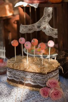 roses and pumpkin pink and orange first birthday party farm pumpkin cake pops