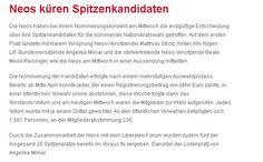 Neos küren Spitzenkandidaten  -  Bericht der Wiener Zeitung vom 1.5.2013 auf http://www.wienerzeitung.at/nachrichten/oesterreich/politik/543270_Neos-kueren-Spitzenkandidaten.html