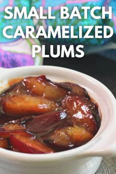 Caramelized Plums - Two plums sautéed in butter and a touch of sugar. These softened plums are wonderful spooned over ice cream or pancakes. Ready in minutes and incredibly delicious! Plum Recipes, Egg Recipes, Single Serving Recipes, Delicious Breakfast Recipes, Muffin Recipes, Sausage, Caramel, Tasty, Beef