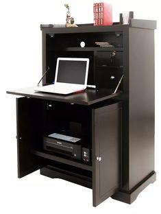escritorio secret madera, laptop, computadoras e impresora