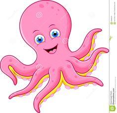 Octopus Cartoon Clip Art | Illustration of Cute octopus cartoon.
