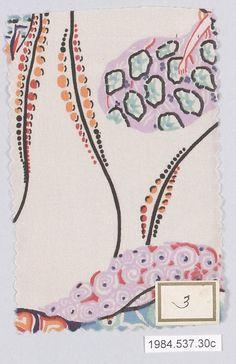 Textile Sample, Gustav Klimt, Wiener Werkstatte, silk, ca.1920
