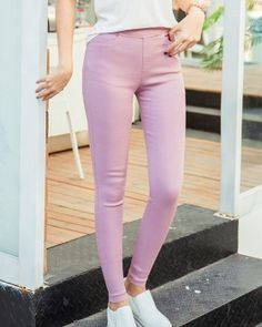 CW68608 Slim washed elasticity leggings black spring feet long pants