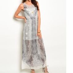 """SLEEVELESS CHIFFON MAXI DRESS WATERCOLOR PRINT Sleeveless chiffon maxi dress in grey features a round neckline, partial lining and abstract watercolor print all over. Absolutely gorgeous!!  L 56"""" B 16"""" W 12""""  100% Polyester.  Small:  2 Medium:  2 Large:  2 NO PAYPAL NO TRADES Price firm unless bundled.  CN245792 Dresses Maxi"""