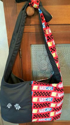 Nascar Hobo Purse with Applique Flag by SherrysCraftPatch on Etsy