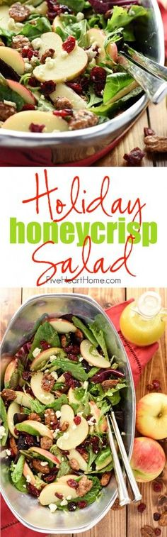 Holiday Honeycrisp Salad ~ full of flavor and texture, this gorgeous salad is loaded with fresh apple slices, crunchy candied pecans, chewy dried cranberries, and salty blue cheese, all dressed with a tangy-sweet apple cider vinaigrette atop a bed of your favorite salad greens...so vibrant and tasty you'll want to make it an annual addition to your Thanksgiving or Christmas menu!   FiveHeartHome.com