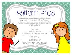 Do your students struggle recognizing number patterns? This math center is structured to help students recognize number patterns. Two sets of c. Math Patterns, Number Patterns, Second Grade Math, Grade 1, Daily 5 Math, Common Core Math, Preschool Math, Math Resources, Math Lessons