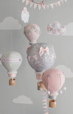 Pink and Gray Baby Mobile Hot Air Balloons by sunshineandvodka