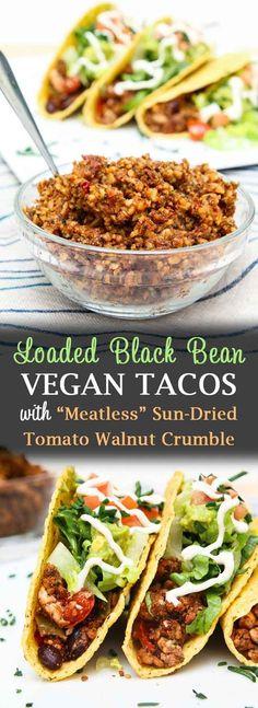 "Loaded Black Bean Tofu Tacos with ""Meatless"" Walnut Crumble #vegan #tofu #walnuts #glutenfree #vegantacos #healthyeats #veganrecipes #glutenfreefood | Vegetarian Gastronomy | www.VegetarianGastronomy.com"