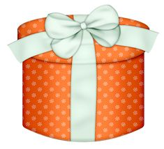 Orange Round Gift Box with White Bow PNG Clipart