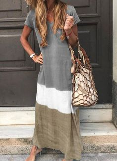 Short Sleeve V-Neck Patchwork Casual Straight Dress – Buyluludress Maxi Dress With Sleeves, V Neck Dress, Short Sleeve Dresses, Sleeved Dress, Long Sleeve, Dress Tops, Hot Dress, Short Sleeves, Collar Dress