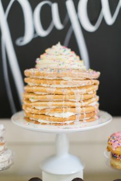 The cutest every cake for a pancakes and pajamas birthday party sleepover!