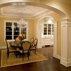 Dining Room with arches and squared columns