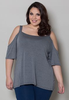 Love this grey cold shoulder top! www.curvaliciousclothes.com TAKE 15% OFF Use code: SVE15 at checkout