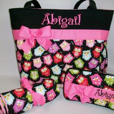 Adorable OWLs ...  DIAPER Bag SET .. Personalized | TweedleTotes - Bags & Purses on ArtFire