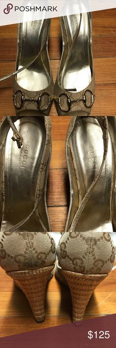 Authentic Gucci wedge shoes Used authentic Gucci shoes. Good condition a scuff mark on the back of left shoe. See picture. Box and bags included. The serial number on box see picture. This will be a great addition to your shoe collection. Gucci Shoes Wedges