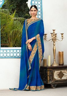 Online saree shopping India at sarees palace. choose from a huge collection of designer, ethnic, casual sari, buy sarees online India for all occasions. Indian Party Wear, Indian Wear, Beautiful Saree, Beautiful Dresses, Stunningly Beautiful, Blue Silk Saree, Party Wear Sarees Online, Bollywood Bridal, Saree Shopping