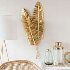 Gold-Colour Metal Foliage Wall Art 35 x 90 cmHome Decoration on Maisons du Monde. Take a look at all the furniture and decorative objects on Maisons du Monde.succulent wall art made of iron at mr price Gold Metal Wall Art, Metal Clock, Metal Tree Wall Art, Metal Wall Decor, Metal Walls, Metal Art, Art Deco Wall Art, Metallic Decor, Roman Clock