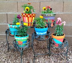 My painted terra cotta pots filled with flowers