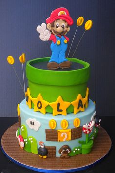 regardless of whether or not my child knows who mario is. he will have this cake. Luigi Cake, Mario Bros Cake, Bolo Super Mario, Super Mario Birthday, Fondant Cake Toppers, Cupcake Cakes, Mario Bros Kuchen, Beautiful Cakes, Amazing Cakes