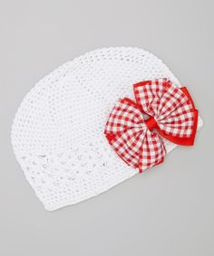 White & Red Gingham Bow Crocheted Beanie