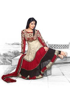 Utsav Fashion : beige-art-silk-jacquard-and-faux-georgette-anarkali-churidar-kameez