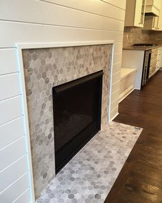Love This Hex Mosaic Tile Fireplace Surround Chenille White Hexagon By Daltile Light