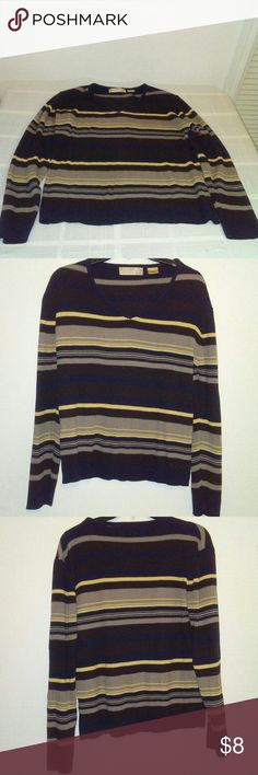 Bugle Boy Sweater Bugle BOY Brown sweater / used but in good condition.  Great to wear with jeans & casual outfits. Sweater is multicolored with stripe colors such as navy & cream.size XL & 100 percent acrylic. bugle boy Sweaters V-Necks
