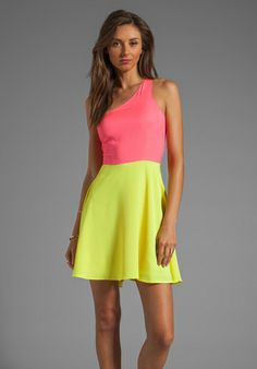 NAVEN Neon Collection Asymmetric Swing Dress in Neon Pink/Neon Yellow