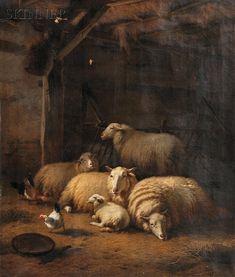 Eugene Verboeckhoven, 1870~~Sheep and Hens