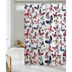 Victoria Classics Butterflies Shower Curtain Set (865 RUB) ❤ liked on Polyvore featuring home, bed & bath, bath and shower curtains