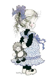Sarah Kay printed panels for embroidery Sarah Key, Holly Hobbie, Mary May, Art Hipster, Illustration Art, Illustrations, Digi Stamps, Whimsical Art, Vintage Cards
