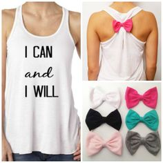 I Can and I Will / Bow Tank Top / Workout Tank / Crossfit Tank Top / Gym Tank on Etsy, $23.95