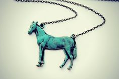 large horse necklace, horse jewelry, horse accessories, equestrian jewelry, patina horse, vintage style