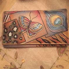 Authentic!  Anushka Hand Painted Leather Wallet Beautiful hand painted leather checkbook wallet - signed Anuschka Bags Wallets