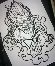 Manga Tattoo, Doodle Tattoo, Anime Tattoos, Beauty And The Beast Tattoo, Rick And Morty Stickers, One Piece Drawing, Black Tattoo Art, Anime Character Drawing, Note Tattoo