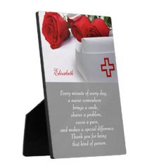 Nurse Appreciation Gifts. Nurses Day / Nurses Week / Thank you Nurse Gift Plaque with personalized Nurse's Name and text. Matching Cards in various languages, postage stamps and other products available in the Business Related Holidays / Healthcare Category of the artofmairin store at zazzle.com