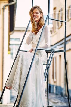 Chiara Ferragni wears a wrap top lace wedding gown by Pronovias